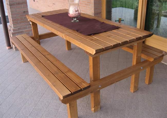 Panca Con Tavolo Da Giardino : Tavoli e panche in legno pave snc